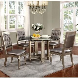 Glamorous Design Metallic Platinum Dinning Set with Glass Top and Rhinestone Tufted Chairs
