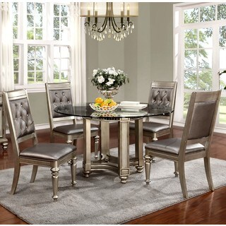 Glamorous Design Metallic Platinum Dinning Set with Glass Top and Rhinestone Tufted Chairs