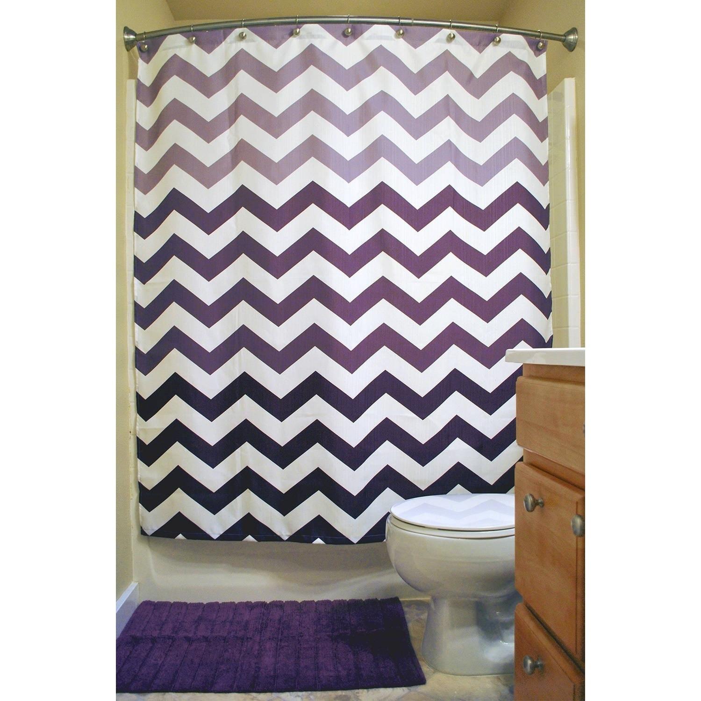 Eggplant Chevron Shower Curtain, Purple