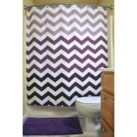 Eggplant Chevron Shower Curtain