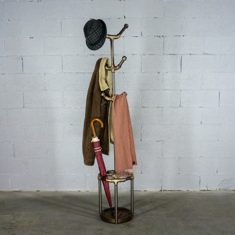 Furniture Pipeline San Antonio, 3-Tier Pipe Coat Rack Umbrella Holder Six Hooks, Metal Reclaimed Wood Finish