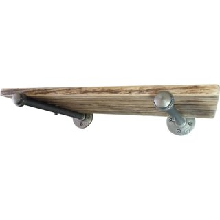 Somerville Industrial Vintage Metal and Reclaimed Aged Wood Finish 24-inch Decorative Wall-mounted Single Pipe Shelf