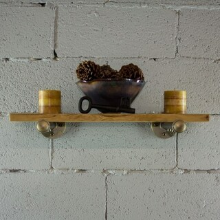 Furniture Pipeline Somerville Farmhouse Industrial Decorative 24-Inch Wall Shelf
