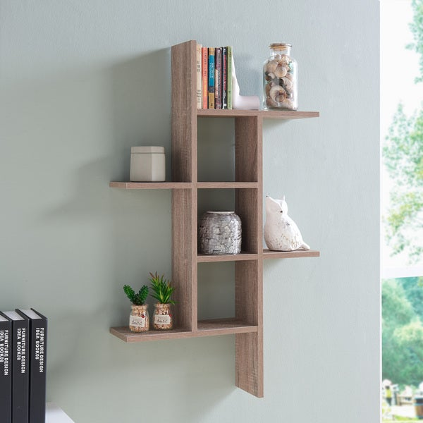 Danya B Cantilever Wall Shelf Weathered Oak