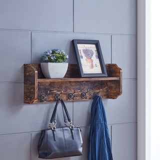 Danya B. Utility Wall Shelf with Hooks - Aged Wood