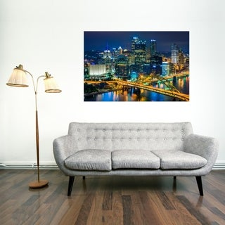 Noir Gallery View of Pittsburgh Skyline at Night Photo Print on Metal.
