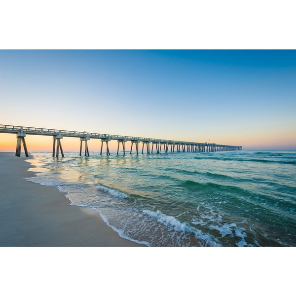 Noir Gallery Pier At Sunrise In Panama City Beach Florida Photo Print On Metal