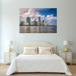 Noir Gallery View of the Miami, Florida Skyline Photo Print on Metal.