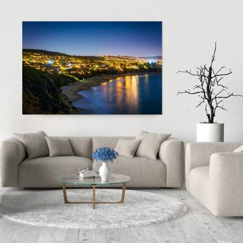 Noir Gallery View of Laguna Beach at Night in California Photo Print on Metal.