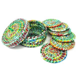 Upcycled Boxed Set of 6 Green Wrapper Coasters (Nepal)