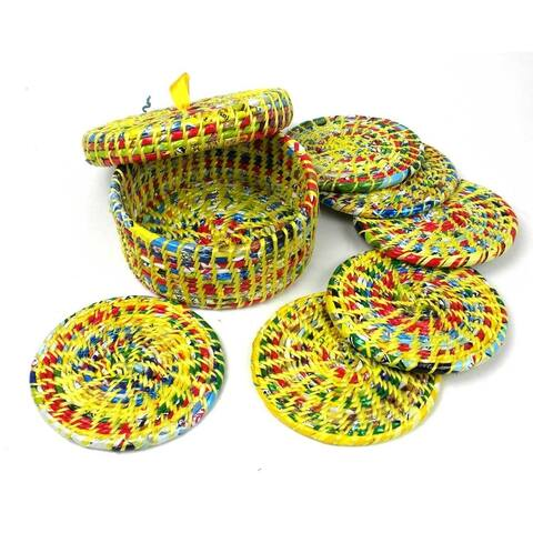 Upcycled Boxed Set of 6 Yellow Wrapper Coasters (Nepal)