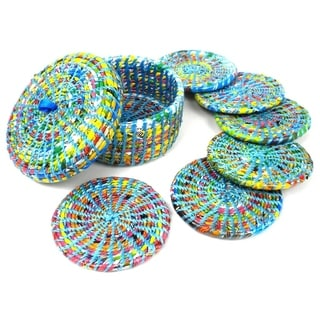 Upcycled Boxed Set of 6 Blue Wrapper Coasters (Nepal)