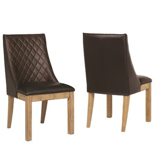 French Design Upholstered Dining Chairs with Decorative Stitching (Set of 2)