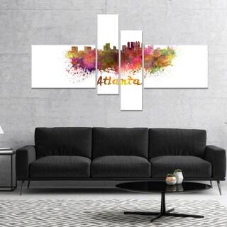 Designart 'Atlanta Skyline' Cityscape Canvas Artwork Print - Purple (2 options available)