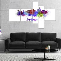 Designart 'Detroit Skyline' Cityscape Canvas Artwork Print - Purple