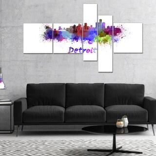 Designart 'Detroit Skyline' Cityscape Canvas Artwork Print
