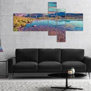 Designart 'Beautiful Lake in Lago Rienza' Seashore Canvas Art Print