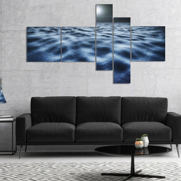 Designart 'Night With Fool Moon in Sky' Large Landscape Canvas Art