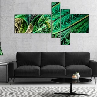 Designart 'Green on Black Fractal Stained Glass' Abstract Wall Art Canvas