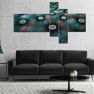 Designart 'Blue Flowers on Alien Planet' Floral Canvas Art Print