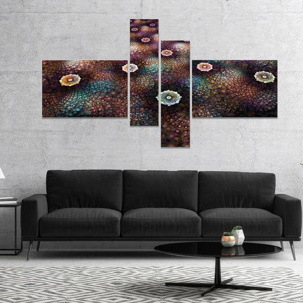 Designart 'Brown Flowers on Alien Planet' Floral Canvas Art Print