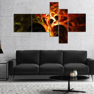 Designart 'Magical Orange Psychedelic Tree' Abstract Canvas Art Print