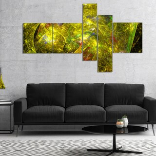 Designart 'Golden Mystic Psychedelic Texture' Abstract Art on Canvas