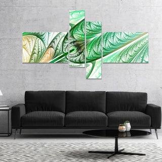 Designart 'Green on White Fractal Stained Glass' Abstract Wall Art Canvas