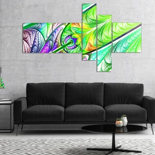 Designart 'Green Blue Fractal Stained Glass' Abstract Wall Art Canvas