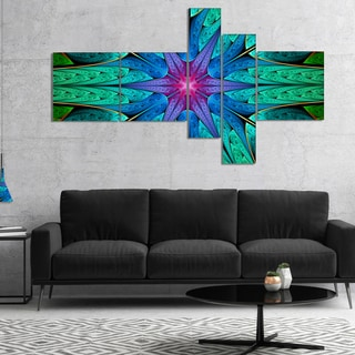 Designart 'Turquoise Star Fractal Stained Glass' Abstract Canvas Art Print