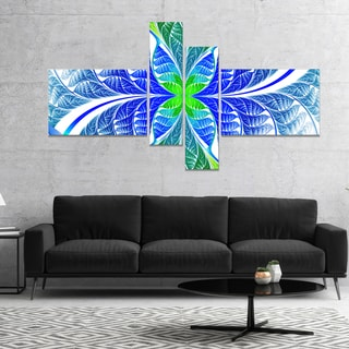 Designart 'Green Blue Fractal Glass Texture' Abstract Canvas Art Print