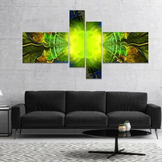 Designart 'Green Golden Fractal Stained Glass' Abstract Canvas Art Print