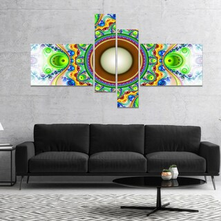 Designart 'Green Fractal Circles and Waves' Abstract Canvas Art Print