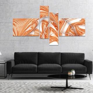 Designart 'Brown Winter Fractal Pattern' Abstract Art on Canvas