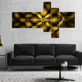 Designart 'Golden Fractal Watercolor Pattern' Abstract Art on Canvas