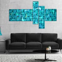 Designart 'Turquoise Watercolor Fractal Pattern' Abstract Art on Canvas