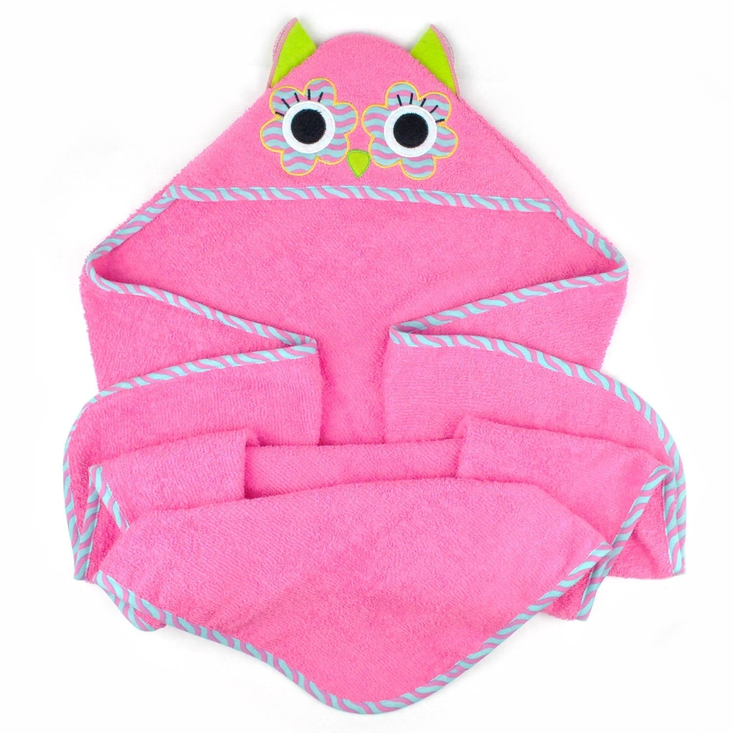 Kids Hooded Bath Towel (Pink Owl), Blue