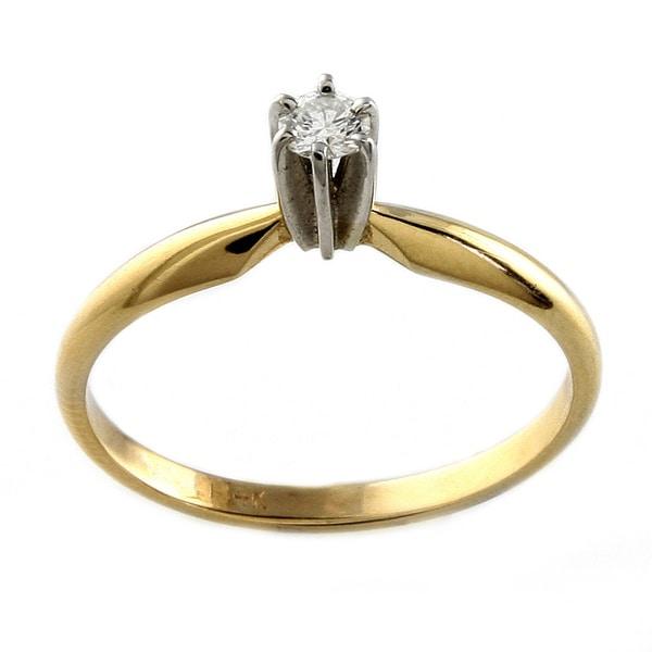 14k Gold 1/10ct TDW Diamond Solitaire Ring - White H-I