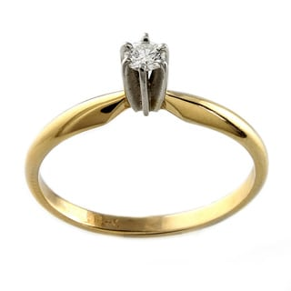 Beverly Hills Charm 14K Gold 1/10ct TDW Diamond Solitaire Ring