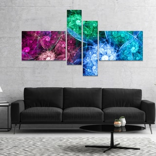 Designart 'Multi Color Bright Exotic Flowers' Abstract Wall Art Canvas