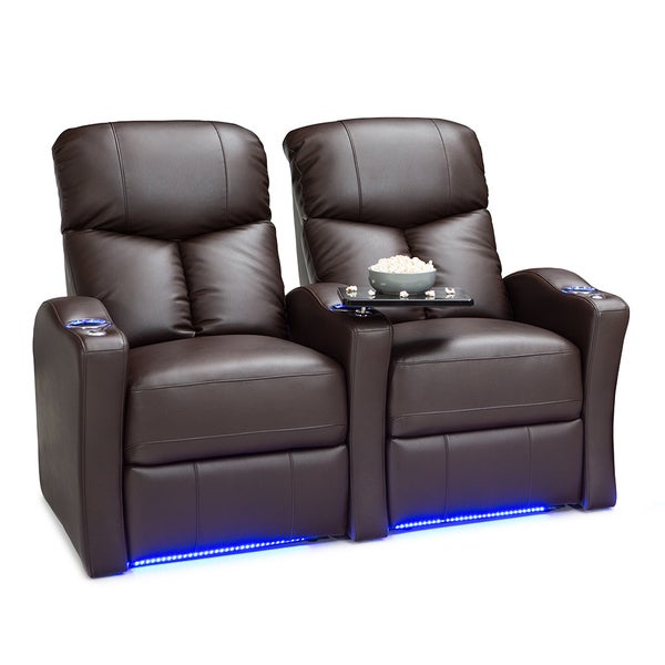 Seatcraft Raleigh Leather Gel Home Theater Seating Manual Recline with Space-Saver Armrests Brown Row of 2