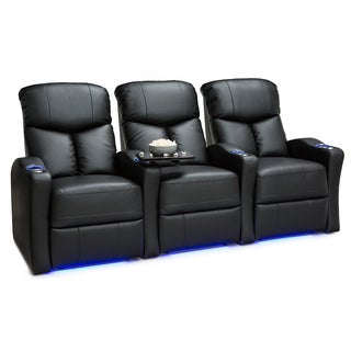 Seatcraft Raleigh Leather Gel Home Theater Seating Manual Recline with Space-Saver Armrests Black Row of 3