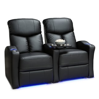 Seatcraft Raleigh Leather Gel Home Theater Seating Manual Recline with Space-Saver Armrests Black Row of 2