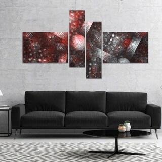 Designart 'Crystal Cell Red Steel Texture' Abstract Canvas Art Print