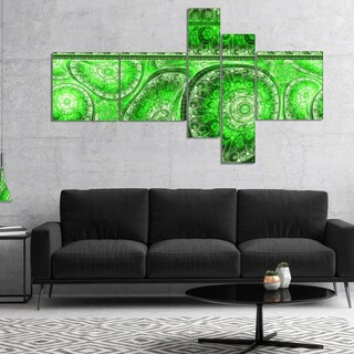 Designart 'Green Living Cells Fractal Design' Abstract Canvas Art Print