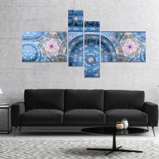 Designart 'Light Blue Living Cells Fractal Design' Abstract Canvas Art Print