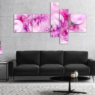 Designart 'Pink White Fractal Glass Texture' Abstract Canvas Art Print
