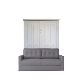 Queen Devonshire Sofa-Murphy Bed in Antique White Finish and Heather Tweed Fabric