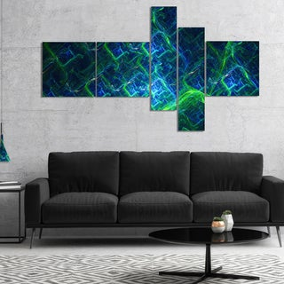 Designart 'Green Blue Electric Lightning' Abstract Art on Canvas