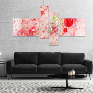 Designart 'Red Fractal Planet of Bubbles' Abstract Wall Art Canvas